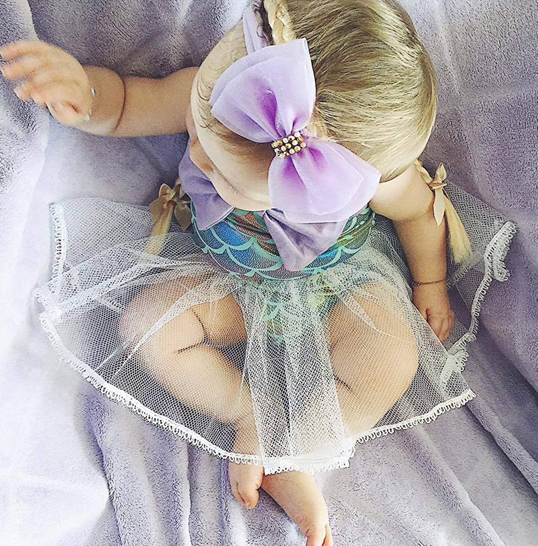 EGELEXY Baby Girls Mermaid Bowknot Sequins Ruffles Bodysuit Romper Jumpsuit Tutu Party Dress Sunsuit Outfits