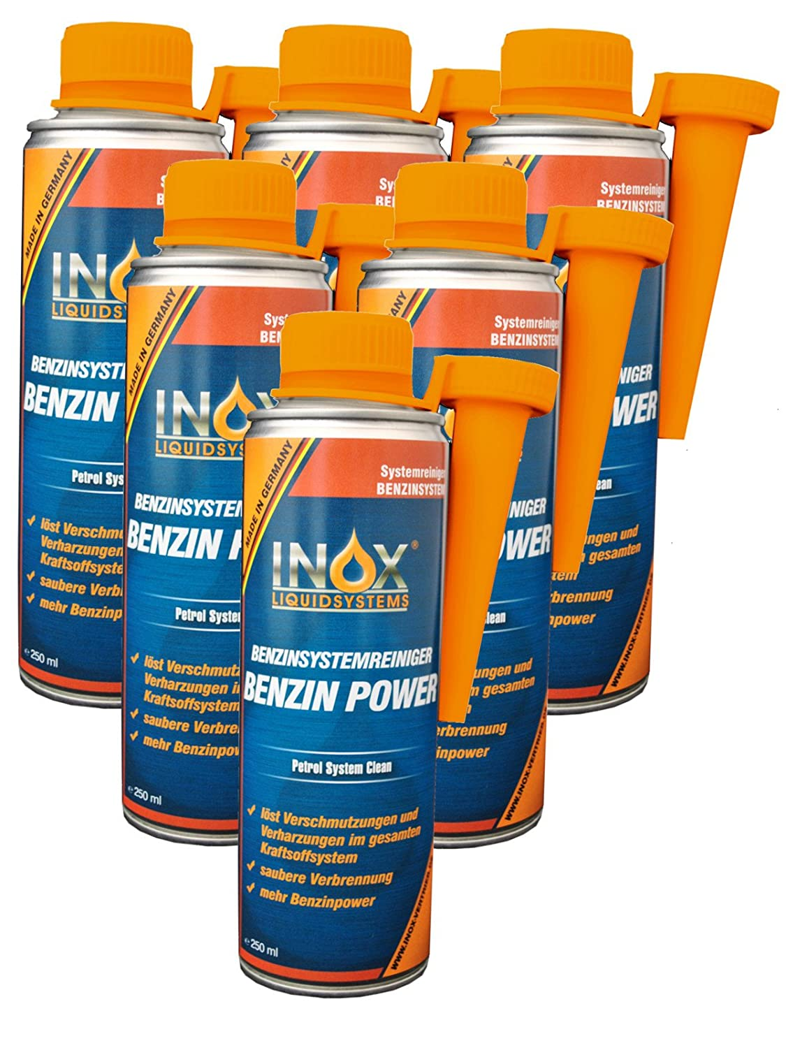INOX Benzin Power Additiv, 6 x 250ml - Zusatz fü r alle Normal- und Superbenziner