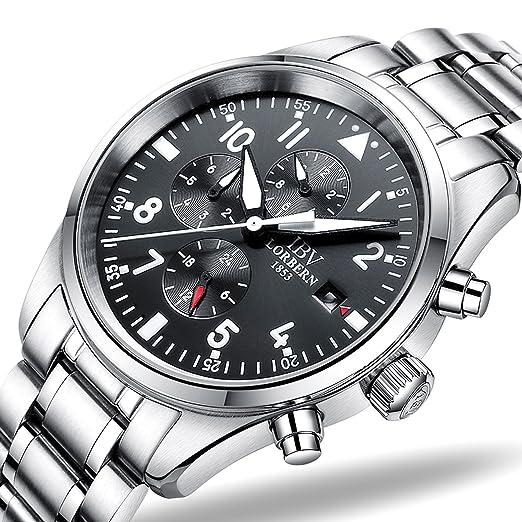 IBV para hombre piloto militar reloj automático mecánico días boca 24/horas función Dial impermeable relojes: Amazon.es: Relojes