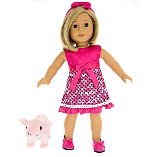 American Girl Inspired Doll Clothes By Dress Along Dolly - 5 Pc Pet Pig Outfit (Includes Skirt, Headband, Shoes, Leash , and Piglet.
