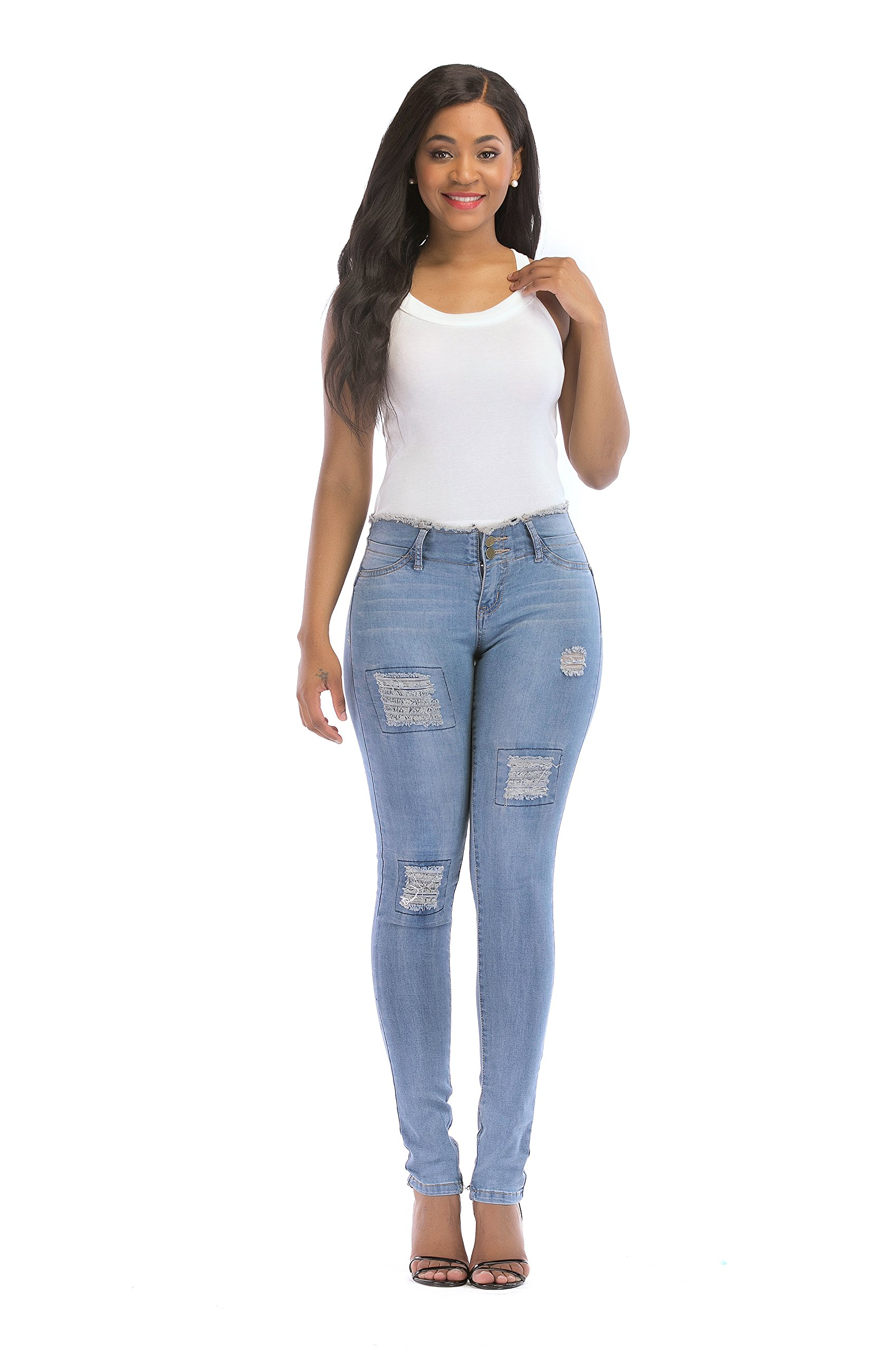 POPTIME Women's Juniors Ripped Distressed Stretchy Denim Skinny Jeans (13, Blue)