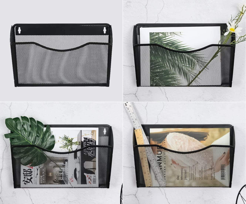 ESYLIFE Porte-documents mural 3 poches en maille A4 pour documents et magazines Noir