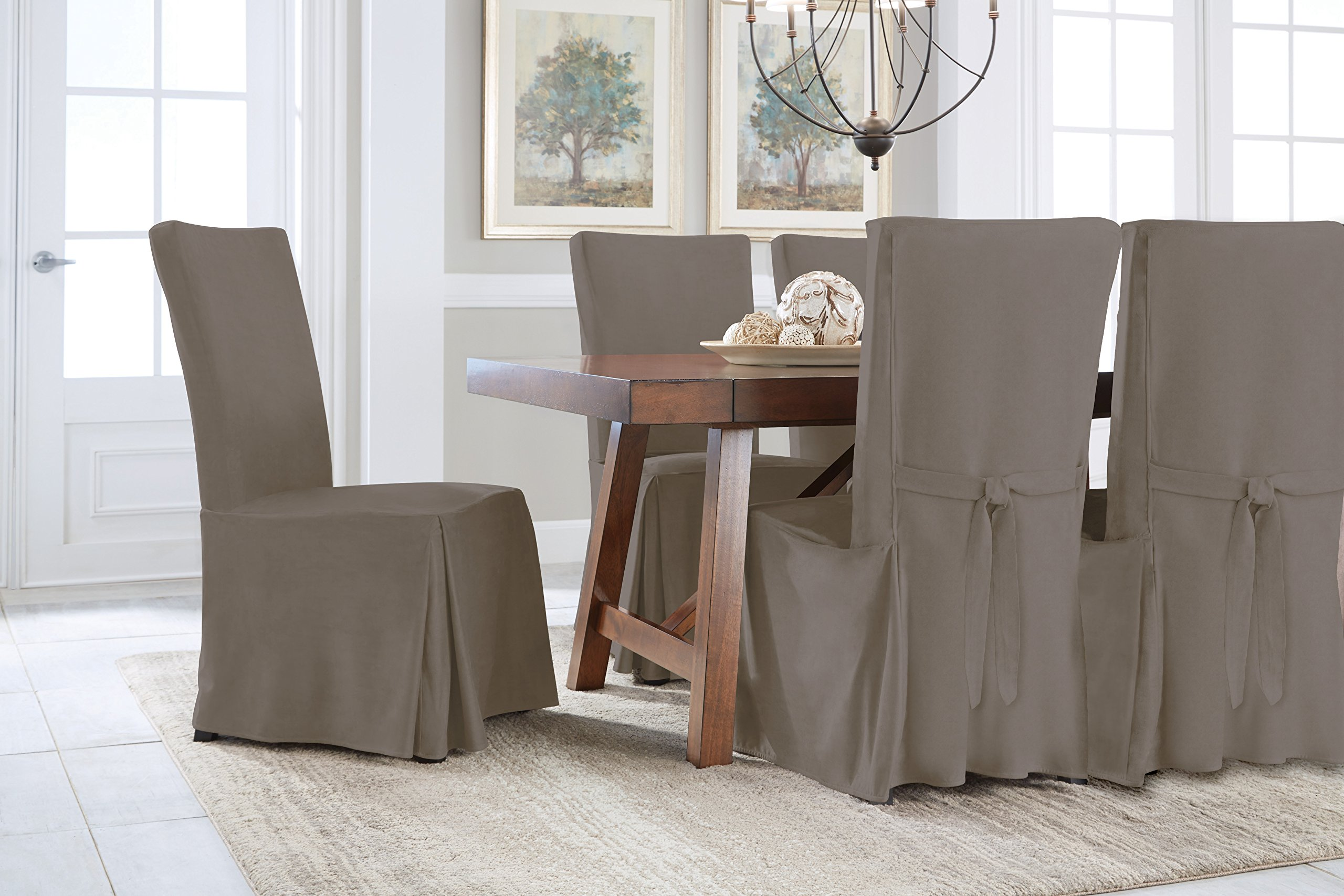 Serta Relaxed Fit Smooth Suede Furniture Slipcover for Regular Dining Chair, Grey by Serta