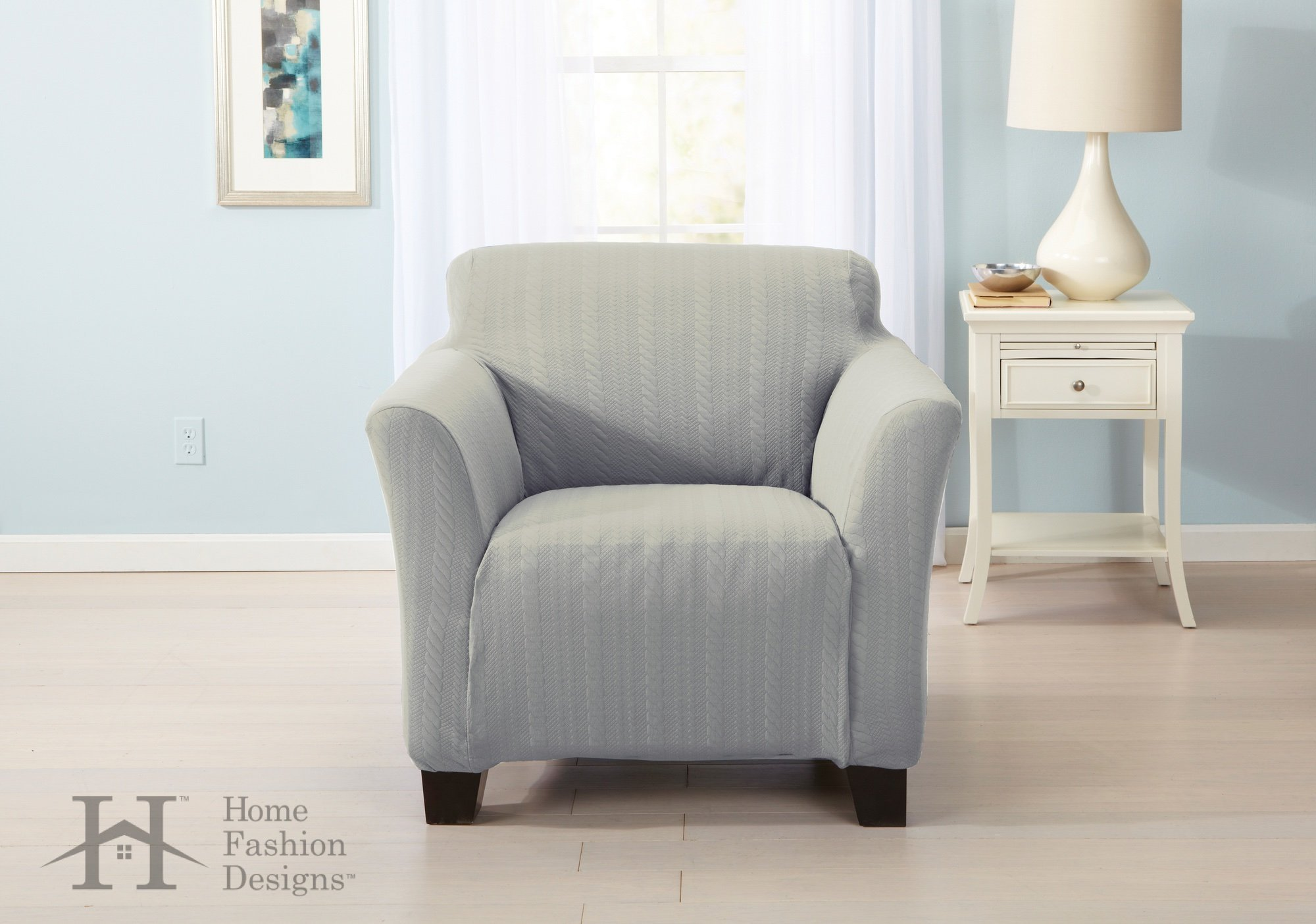 Home Fashion Designs Form Fit, Slip Resistant, Stylish Furniture Shield/Protector with Cable Knit Fabric. Darla Collection Platinum Strapless Slipcover. By Brand. (Chair, Light Grey)