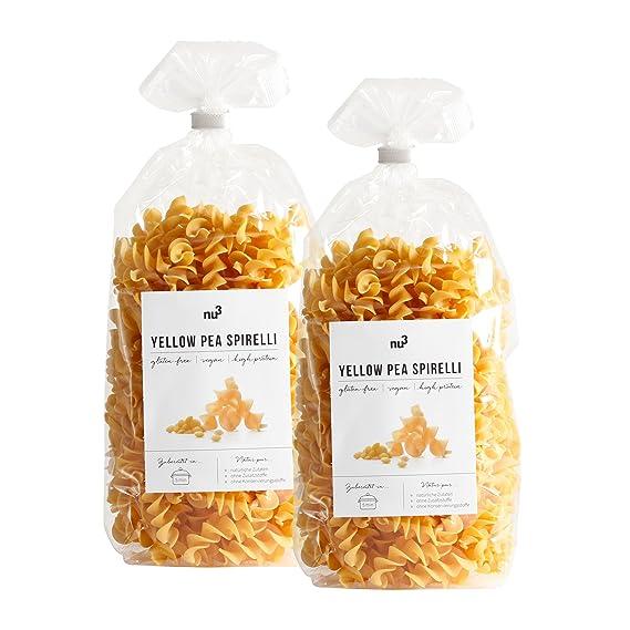 nu3 Low carb pasta de guisante amarillo | 500g de fideos fusilli | Pasta sin gluten