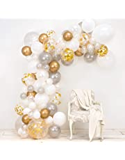 Genuine JUNIBEL Balloon Arch & Garland Kit | Pearl White, Chrome Gold Confetti & Silver | Glue Dots | Decorating Strip | Holiday, Wedding, Baby Shower, Graduation, Anniversary Organic DIY Party Decorations