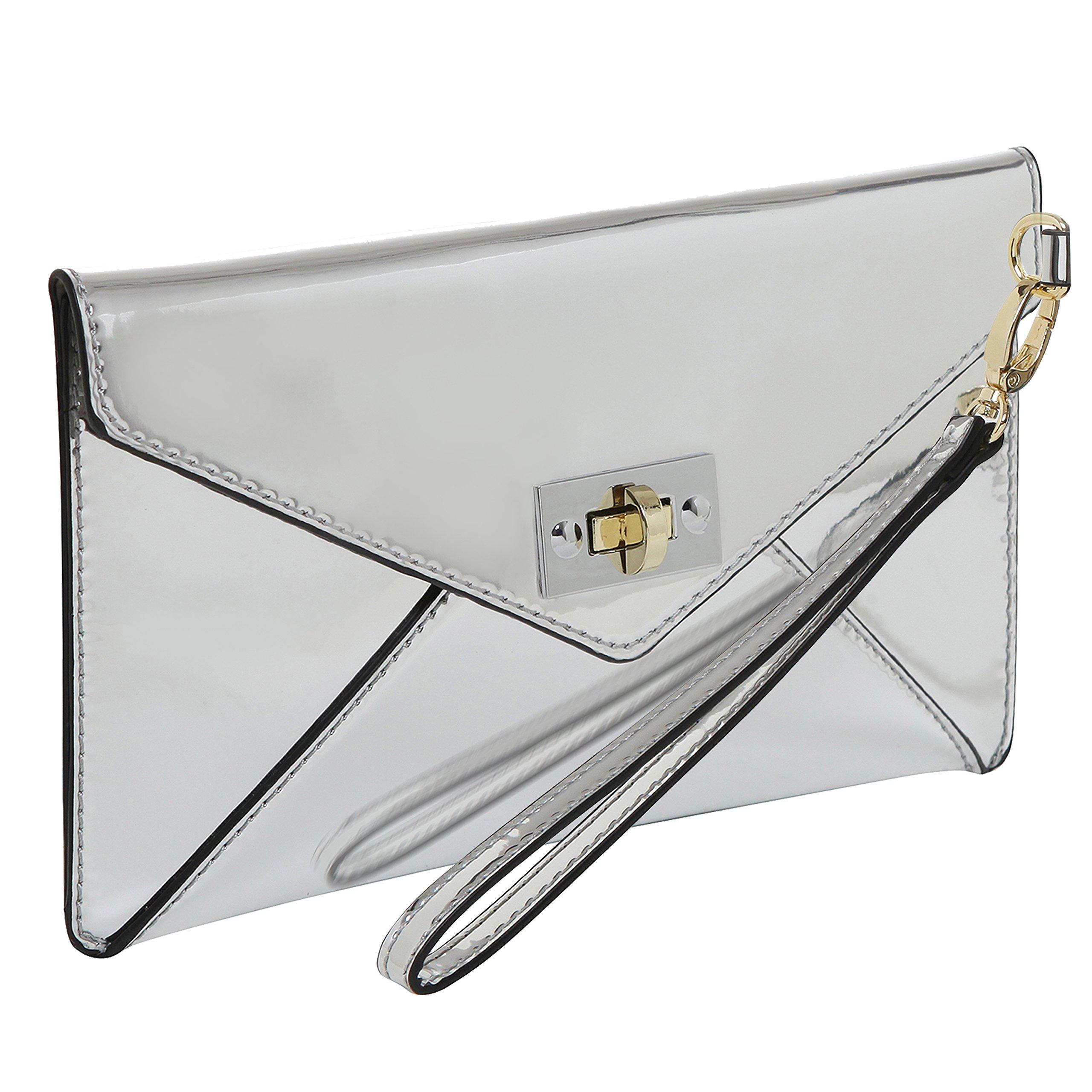 MG Collection Modern Mirror Silver Wristlet Clutch / Envelope Wallet Purse
