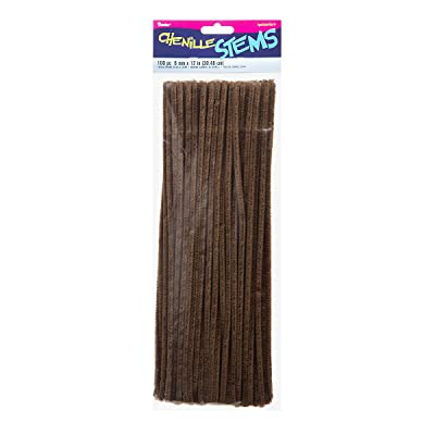 "Darice Chenille Stems (100pc), Brown – Perfect for Craft Projects – Classic Pipe Cleaners are Easy to Bend to Create Shapes, Objects - Great for Kids, Classrooms, Home and More – 6mm x 12"" Long: Arts, Crafts & Sewing"