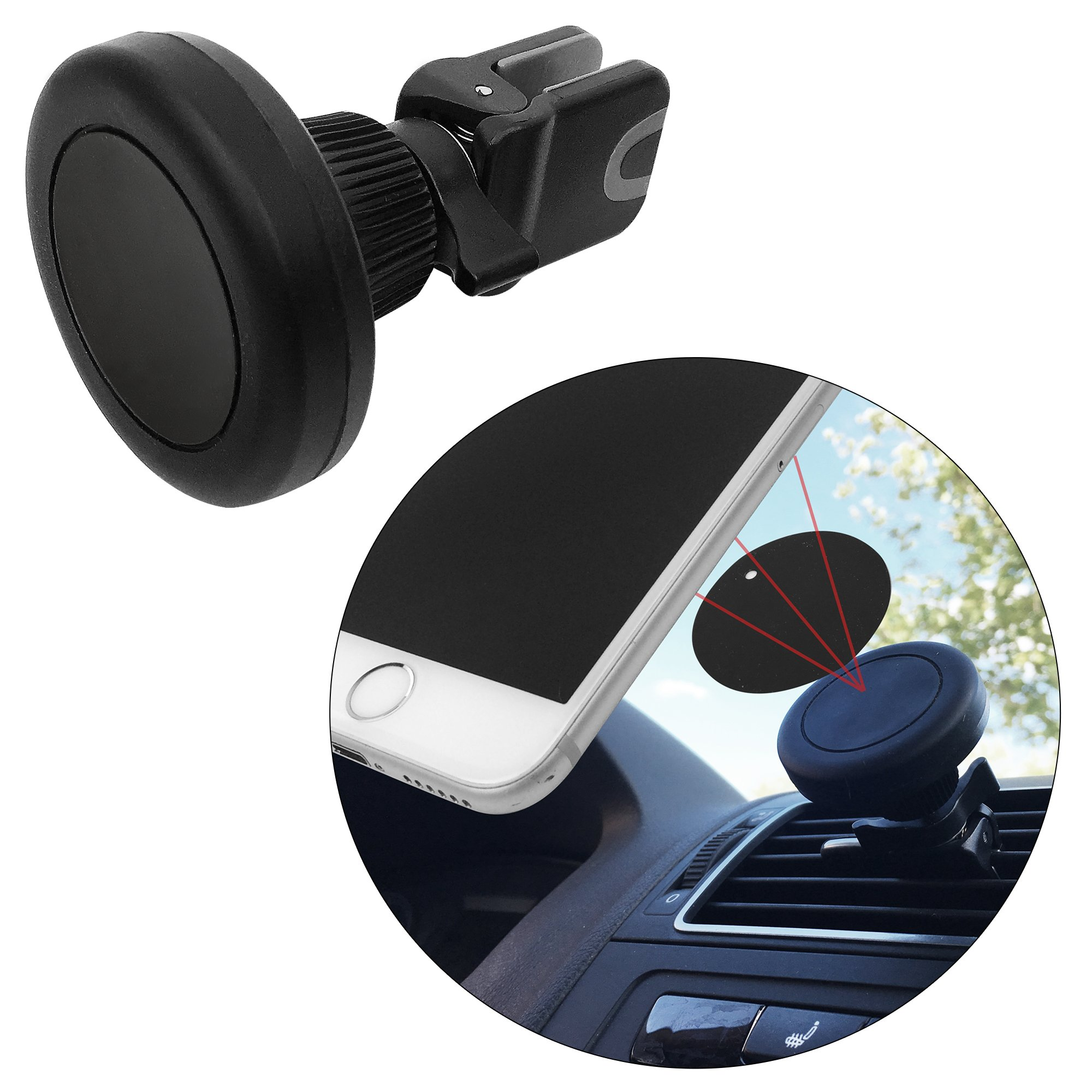 Air Vent Magnetic Car Mount Holder Cradle Grip- Fast Snap For All Smartphones Mini Tablets Cell Phones GPS Mobile Devices- One Touch Stick On Dash Board, Safe Strong Slim- Black + 2 Metal Plates