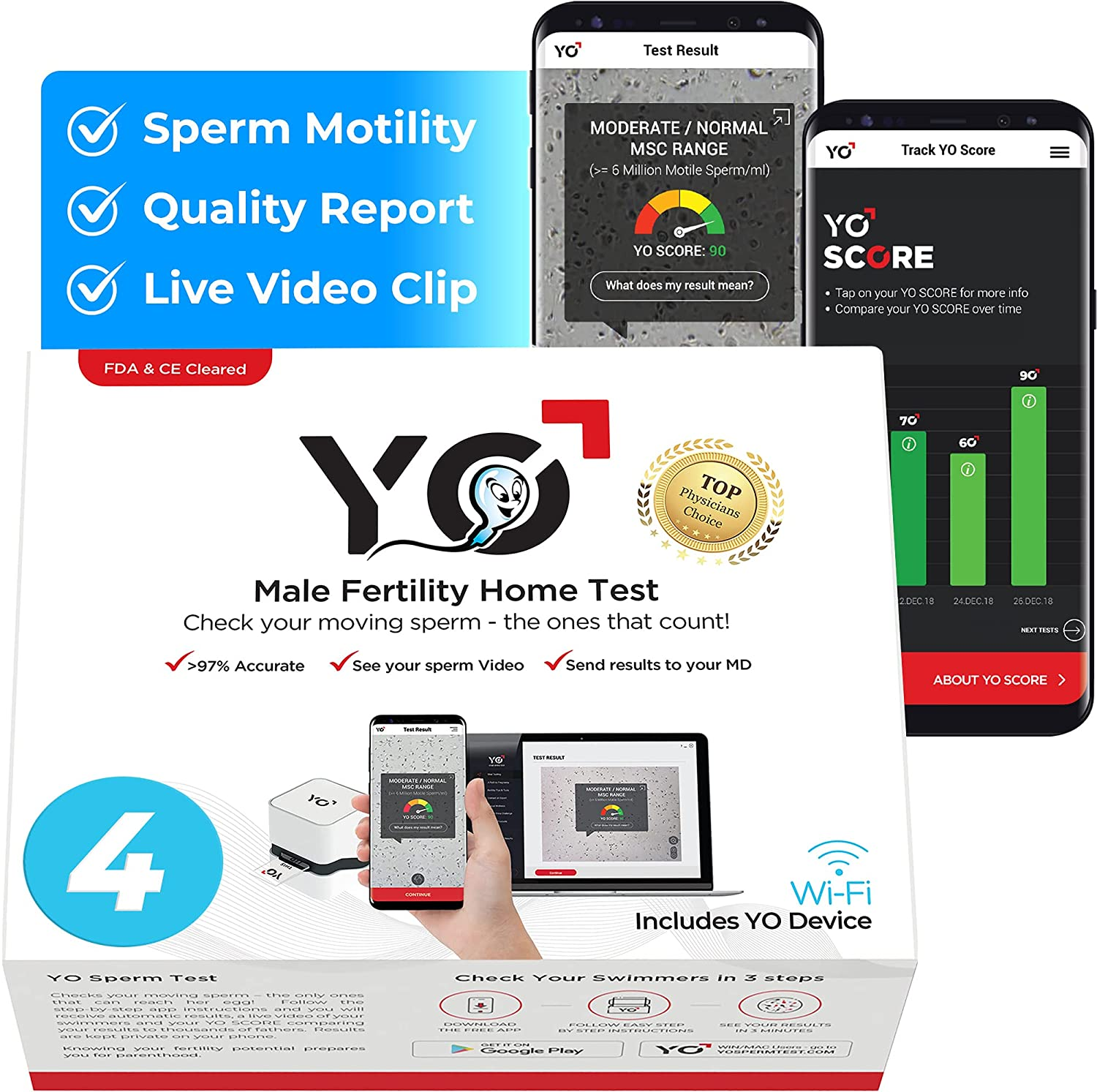 YO Home Sperm Test for Apple iPhone, Android, MAC and Windows PCs | Includes 4 Tests | Men's at Home Fertility Test | Check Moving Sperm and Record Videos