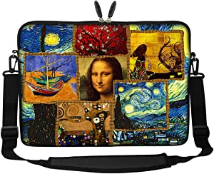 Meffort Inc 17 17.3 inch Neoprene Laptop Sleeve Bag Carrying Case with Hidden Handle and Adjustable Shoulder Strap - Famous Painting