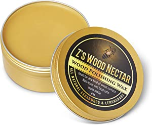 Z's Wood Nectar - All Natural Beeswax Polish - Restore & Condition Wood Furniture - Non-Toxic Tung Oil - Organic - Butcher Block Conditioner - Wood Seasoner - Cedarwood & Lemongrass Essential Oil