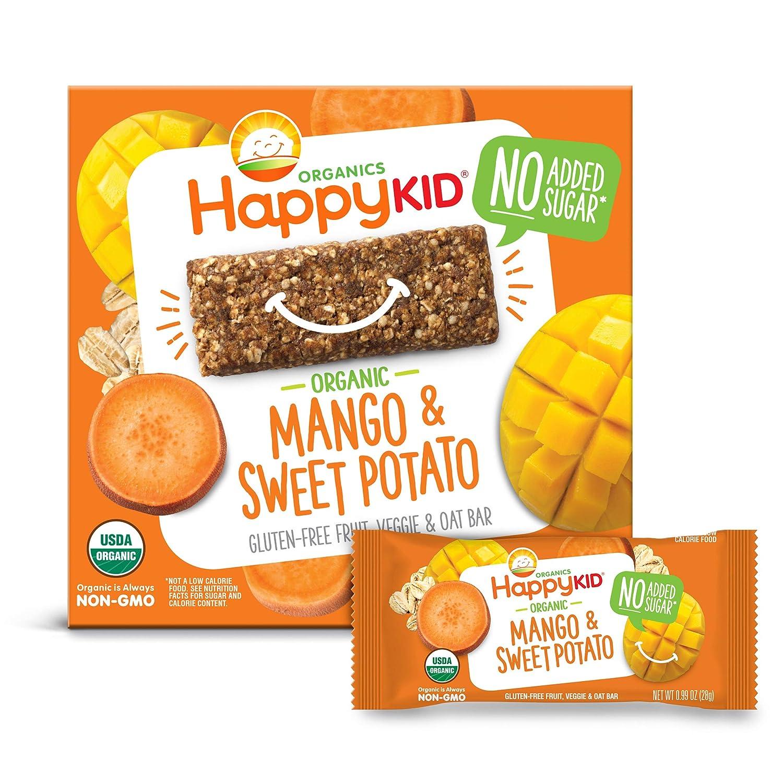 Happy Kid Organics Veggie & Oat Bar, Mango & Sweet Potato, 5 Count Bar (Pack of 6)