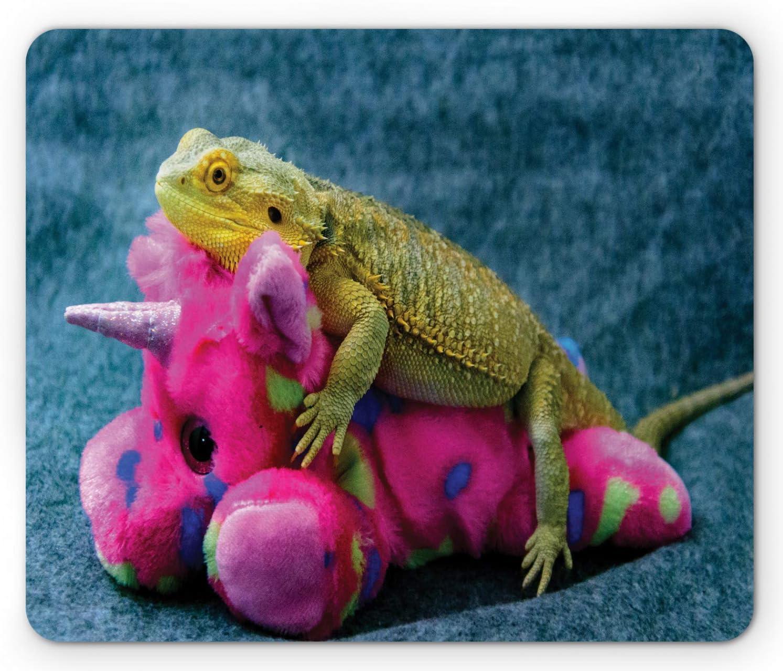 Photo of Unicorn Fluffy Toy Befriending Exotic Wild Lizard Reptilian Print Standard Size Rectangle Non-Slip Rubber Mousepad SYMSPAD Bearded Dragon Mouse Pad Multicolor