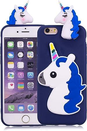 Funluna Cover iPhone 6S/6 Plus, 3D Tridimensionale Unicorn Cartone Animato Ultra Sottile Morbido TPU Silicone Custodia Antiurto Protettiva Copertura ...