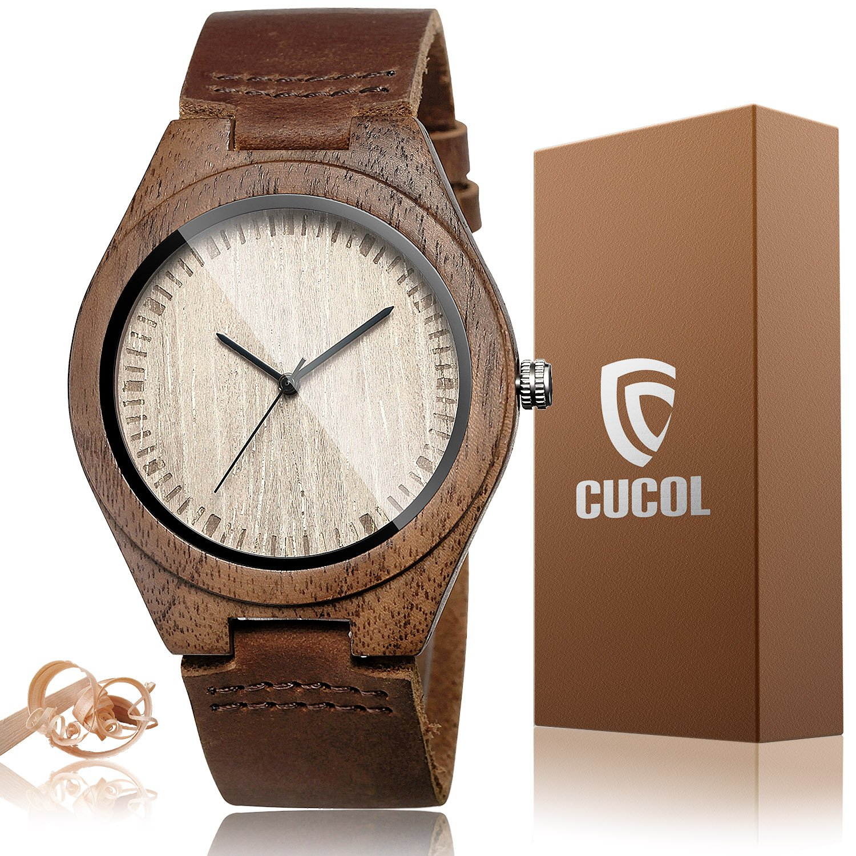 CUCOL Men's Walnut Wood Cowhide Leather Strap Watch Wooden Case Analog Quartz Wristwatch with Gift Box