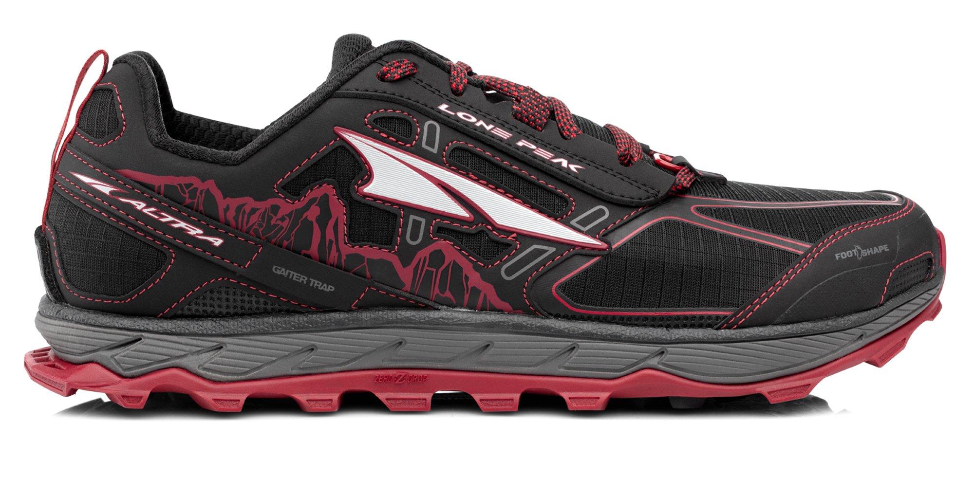 Altra AFM1855F Men's Lone Peak 4.0 Trail Running Shoe, Black/Red - 7 D(M) US
