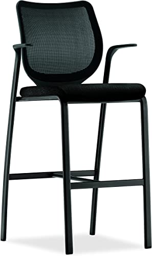 HON Nucleus Knit Stool with Fixed Arms, Mesh Back and Frame, Black