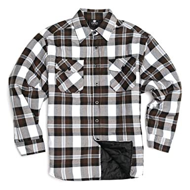 Yago Men S Outdoor Quilted Lining Flannel Plaid Button Down Shirt