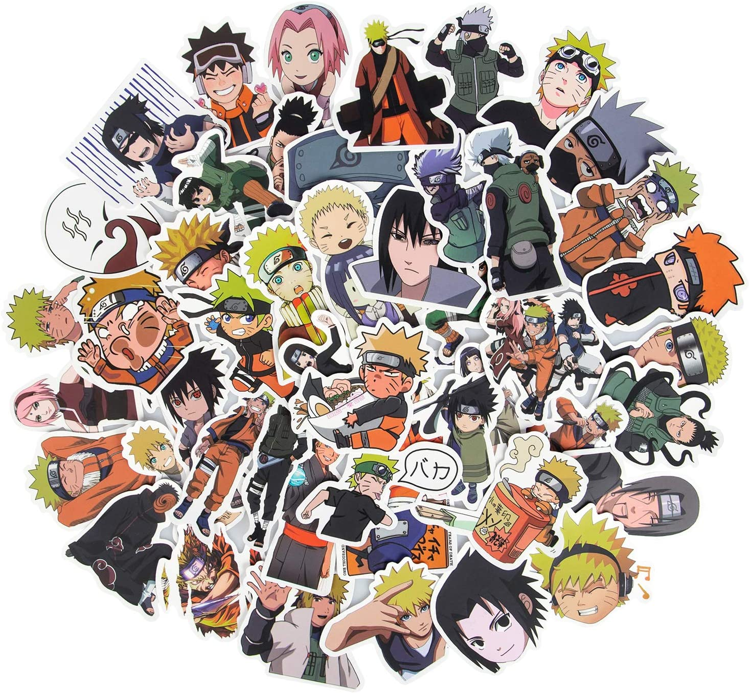 Naruto Stickers for Laptop, 50 Pack Cute Waterproof Anime Stickers for Teens and Fans Gifts, Vinyl Skateboard Stickers for Hydroflasks Water Bottles Bumper Cup Computer Guitar