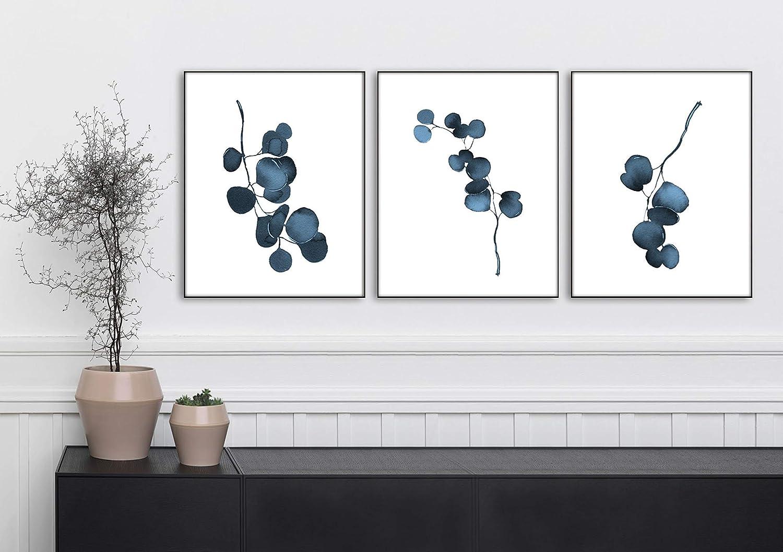 Eucalyptus Botanical Prints Watercolor Modern Farmhouse Decor Set of 3-8x10 Blue Wall Art Unframed