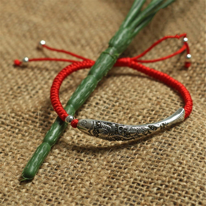 EveyWell Updated 925 Sterling Silver Fish Lucky Red Rope Shambala Bracelet Handmade Bangle Wax String Amulet Jewelry