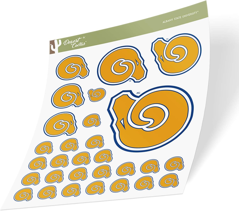 Albany State University ASU Golden Rams NCAA Sticker Vinyl Decal Laptop Water Bottle Car Scrapbook (Sheet Type 3-1)