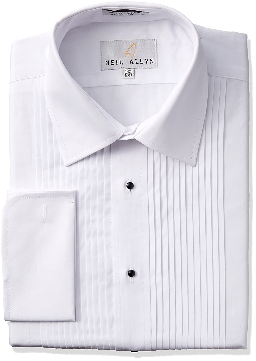 Tuxedo Shirt By Neil Allyn - 100% Cotton with Laydown Collar and French Cuffs (White , 16.5 - 34/35) 951