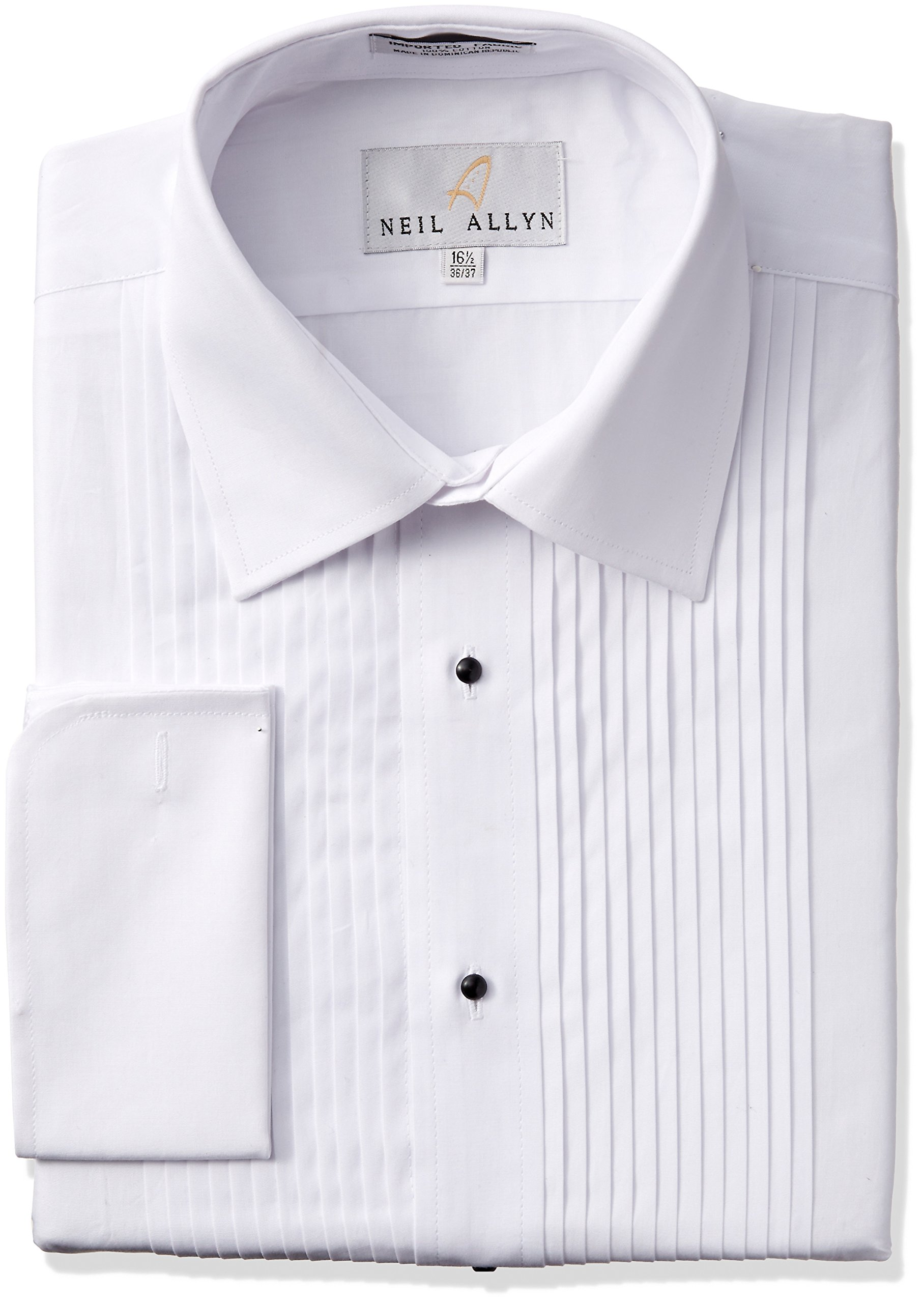 Tuxedo Shirt By Neil Allyn - 100% Cotton with Laydown Collar and French Cuffs (15.5 - 34/35), White by Neil Allyn