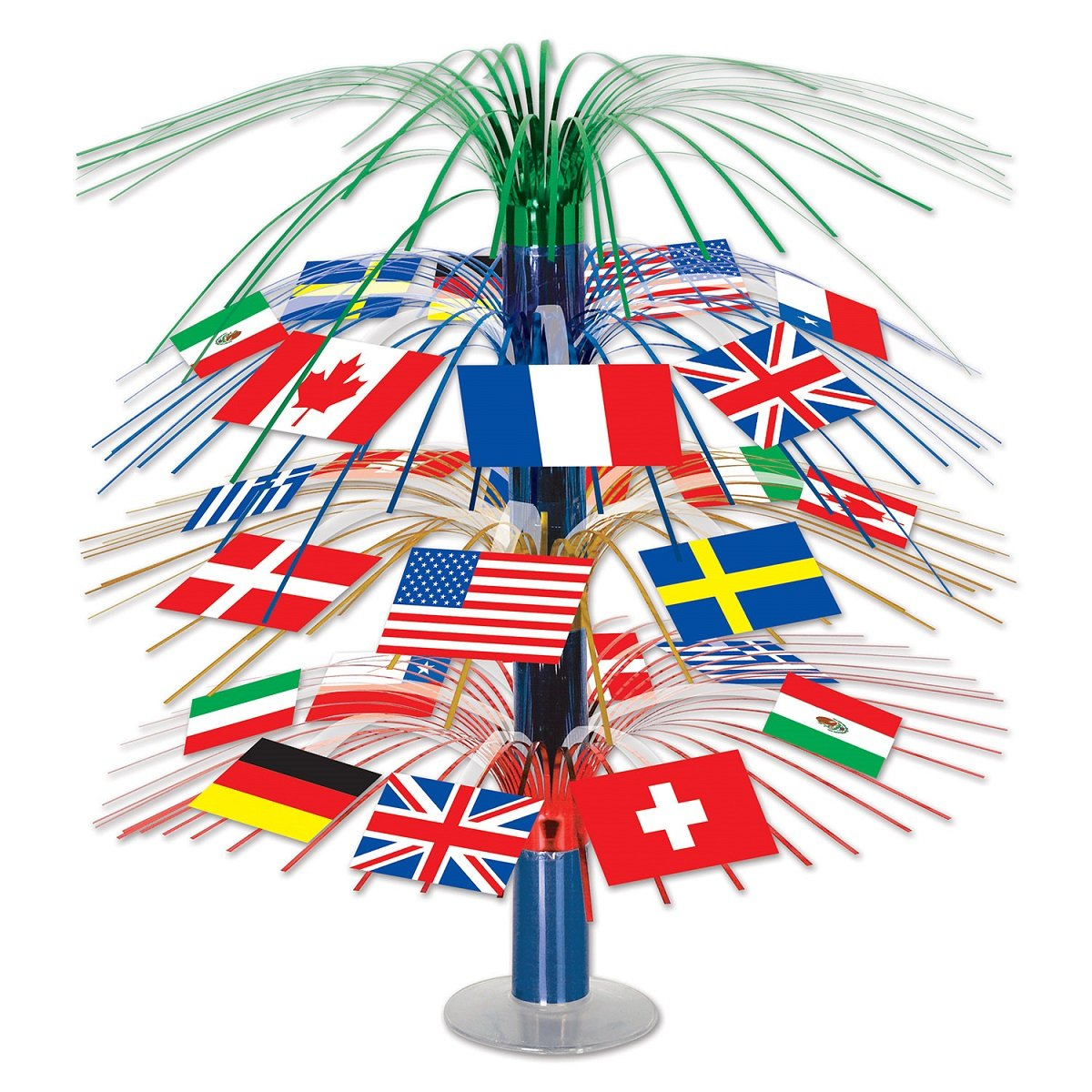 Club Pack of 6 International Flag Cascade Centerpiece Table Top Decorations 18''
