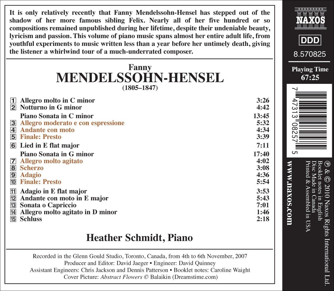 Mendelssohn hensel schmidt piano sonatas in c g minor mendelssohn hensel schmidt piano sonatas in c g minor amazon music hexwebz Images