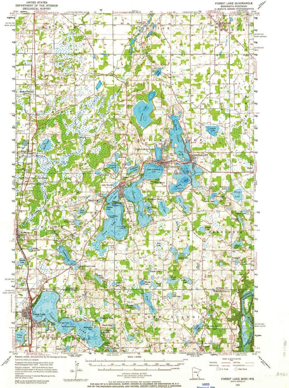 forest lake mn map Amazon Com Yellowmaps Forest Lake Mn Topo Map 1 62500 Scale 15 forest lake mn map