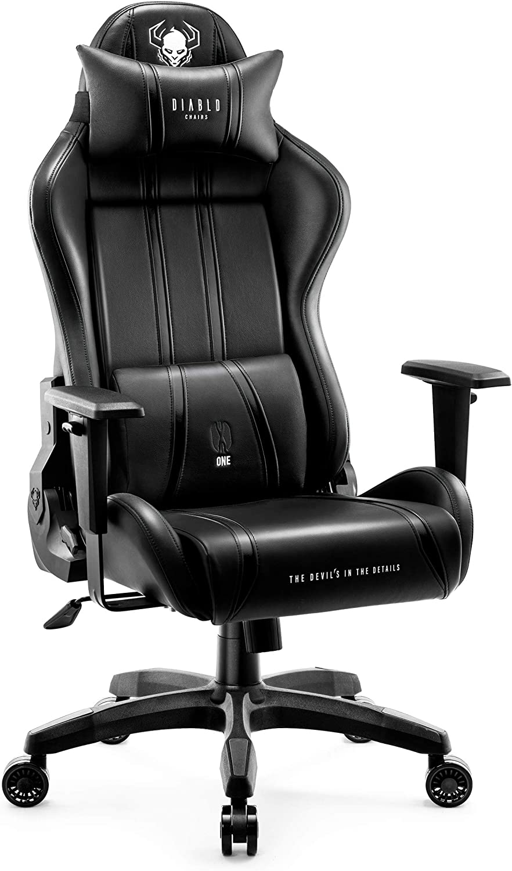 Diablo X-One 2.0 Silla Gaming Gamer Oficina Sillon de Ordenador Reposabrazos Ajustables Cuello/Cojín Lumbar Diseño Ergonómico (Negro, Normal)