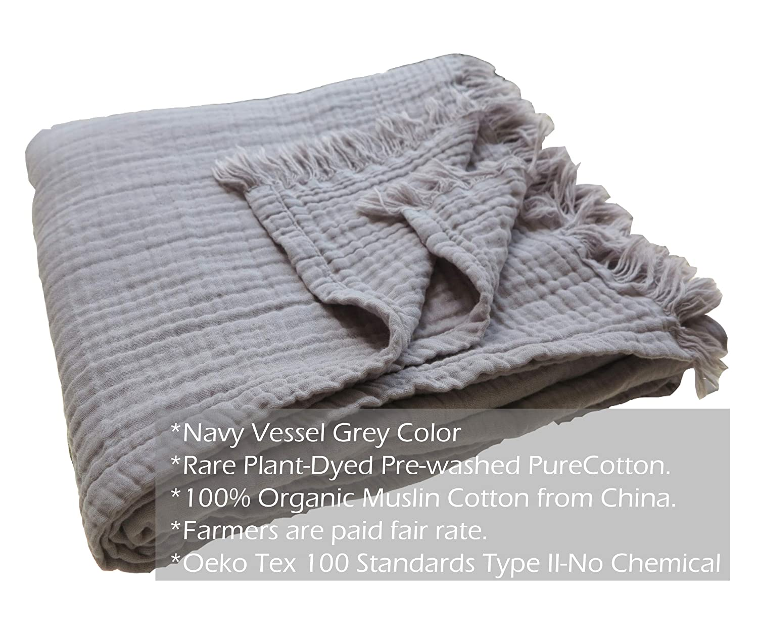 "Pre-Washed 100% Organic Muslin Cotton Throw Blanket for Adult Kids Sofa Couch, Plant Dyed Yarn, Breathable Super Soft Cotton, Cozy, Warm, Lightweight Bedding Throw Blanket, All Season (55""x60"" Grey)"