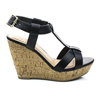 6a79f339f893 Johanna Black T-Strap Sandal On Cork Platform Wedge -9