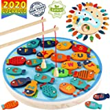 CozyBomB Magnetic Wooden Fishing Game Toy for Toddlers - Alphabet Fish Catching Counting Preschool Board Games Toys for…