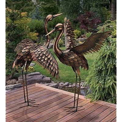 CHSGJY Large Bronze Patina Flying Crane Pair Sculpture Heron Bird Yard Art Metal Statue Home Garden Decor : Garden & Outdoor