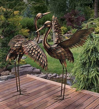 CHSGJY Large Bronze Patina Flying Crane Pair Sculpture Heron Bird Yard Art  Metal Statue Home Garden
