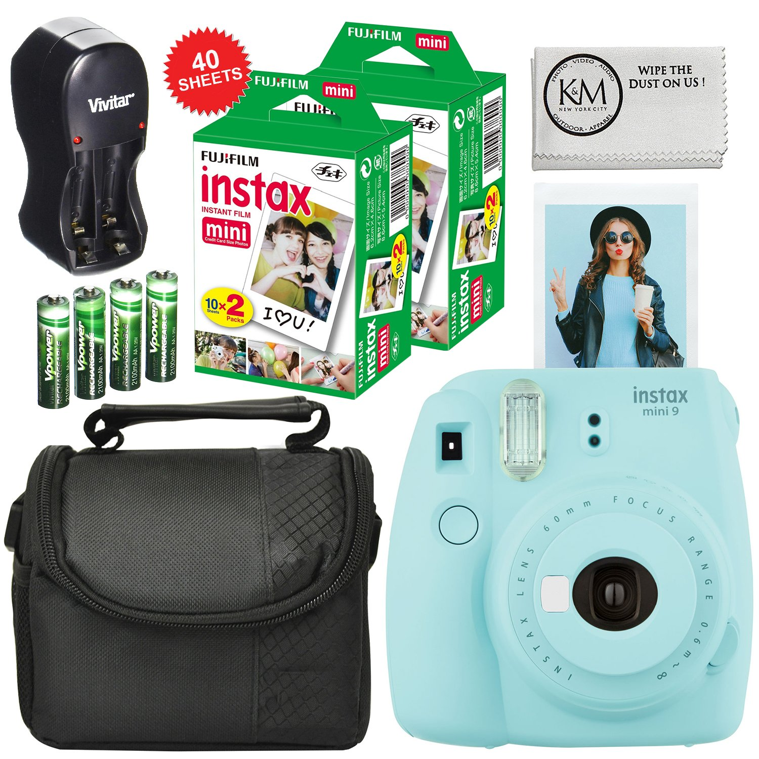 Fuji Instax Mini 9 + Carry Case + Rechargeable AA Batteries & Charger + Instax Mini Film (40 Sheets) (Ice Blue) by K&M (Image #1)