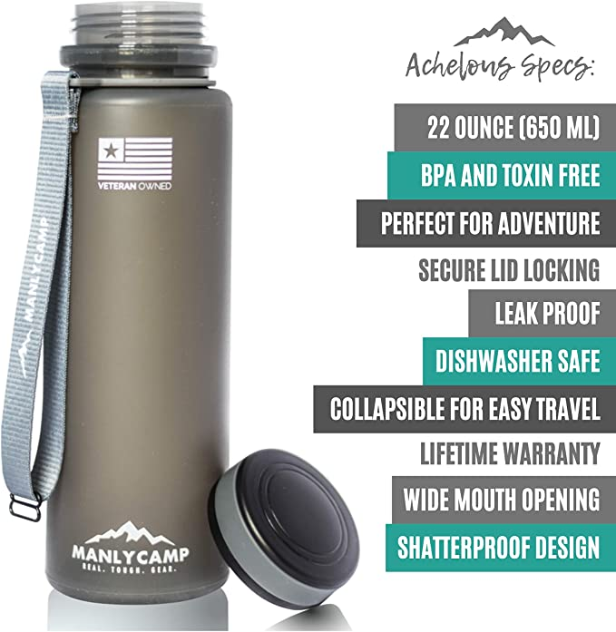 MANLYCAMP REAL for Hiking 22 Oz BPA Free Silicone Camping TOUGH Achelous Collapsible Water Bottle Gym /& Travel GEAR