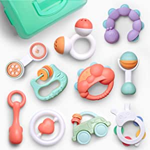 Gizmovine 10pcs Baby Toys Rattles Set, Infant Grasping Grab Toys, Spin Shaking Bell Musical Toy Set Early Educational Toys with Storage Box for Toddler Newborn Baby 3, 6, 9, 12 Month