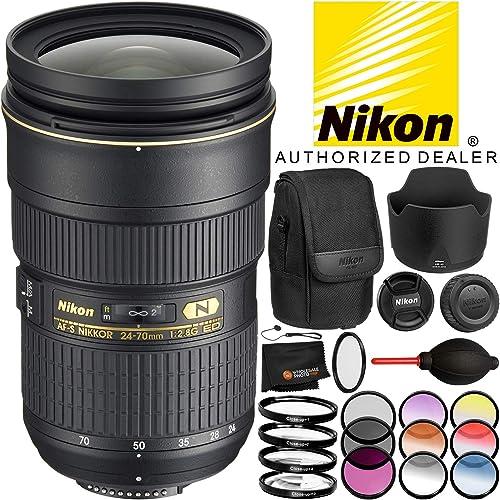 Nikon AF-S 24-70mm f 2.8G ED Lens – 7PC Bundle Includes 3 Piece Filter Kit 4 Piece Macro Filter Set 6 Piece Color Graduated Filter Kit UV Filter Dust Blower MORE
