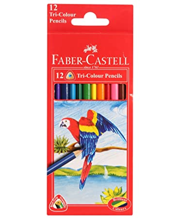 Faber-Castell Triangular Colour Pencils - Pack of 12 (Assorted ...