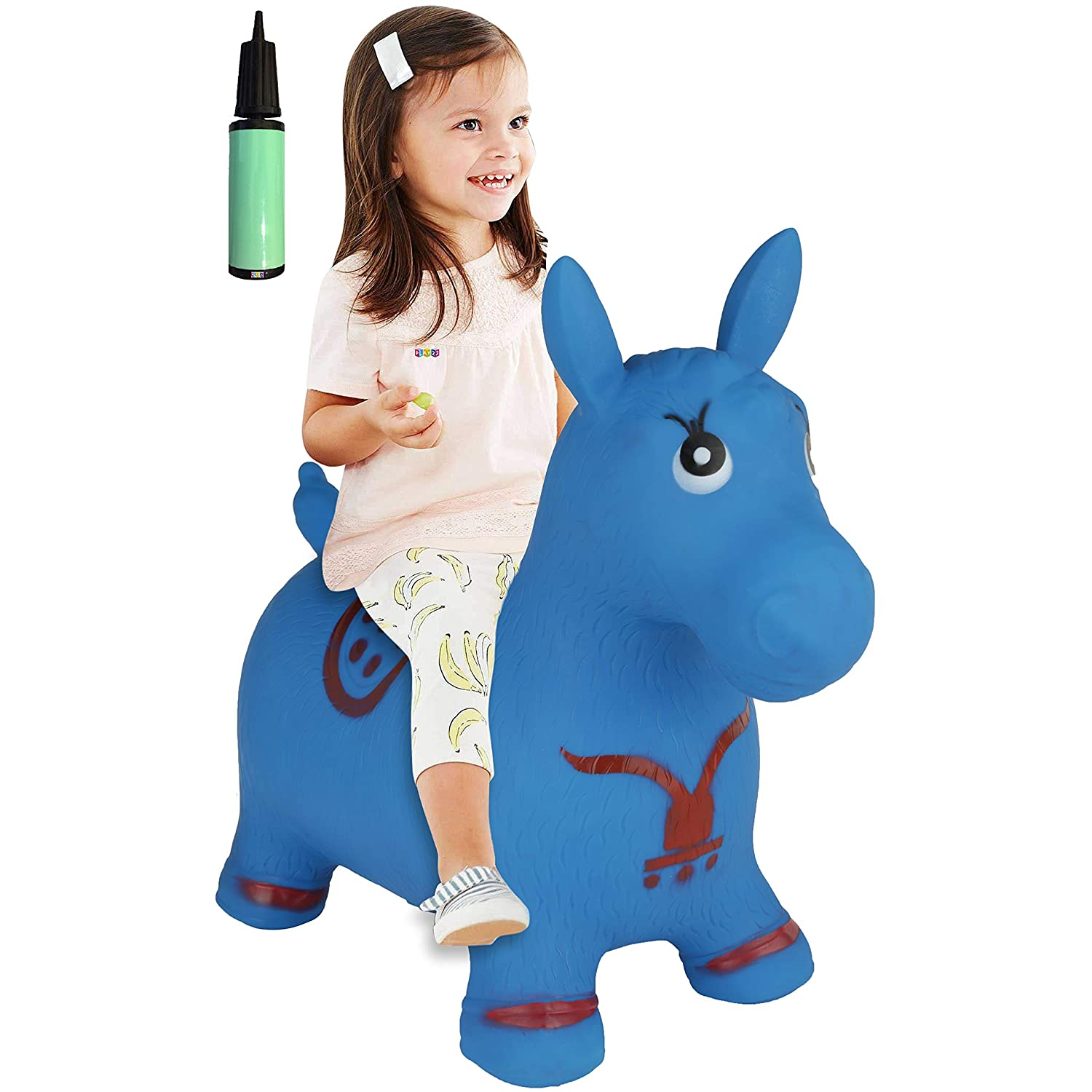 Horse Hopper BLUE Inflatable Horse Bouncer with Pump Included Bouncy Horse Toys For Kids Toddler Riding Horse Toy Great For Indoor And Outdoor Toys Play Best Gift for Boys and Girls Original