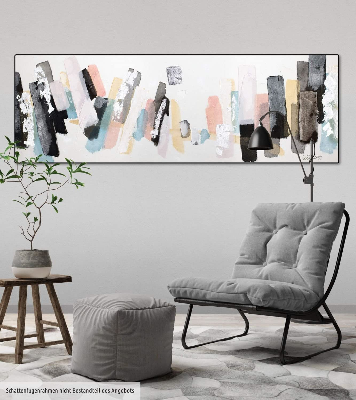 Abstralt Muster Grau original handgemalte Leinwand Bilder XXL Wandbild Acrylbild Moderne Kunst einteilig mit Rahmen KunstLoft/® Acryl Gem/älde Individualismus 150x50cm