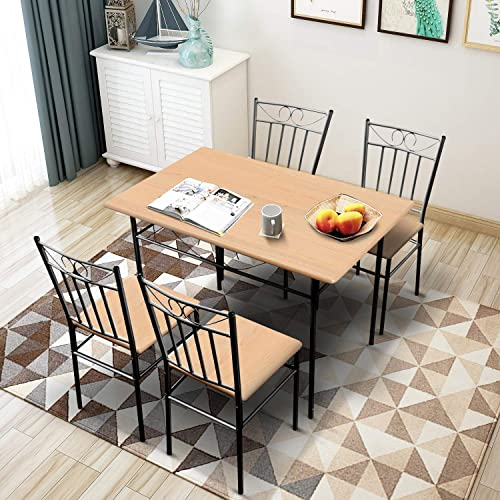 Harper Bright Designs 5-Piece Dining Table Set,Wood and Metal Kitchen Table Set for Dining Room, Dinette, Breakfast Nook w 4 Chairs, Oak
