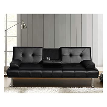 Cherry Tree Furniture Black Acrux 3 Seater Sofa Bed Sleeper Sofa