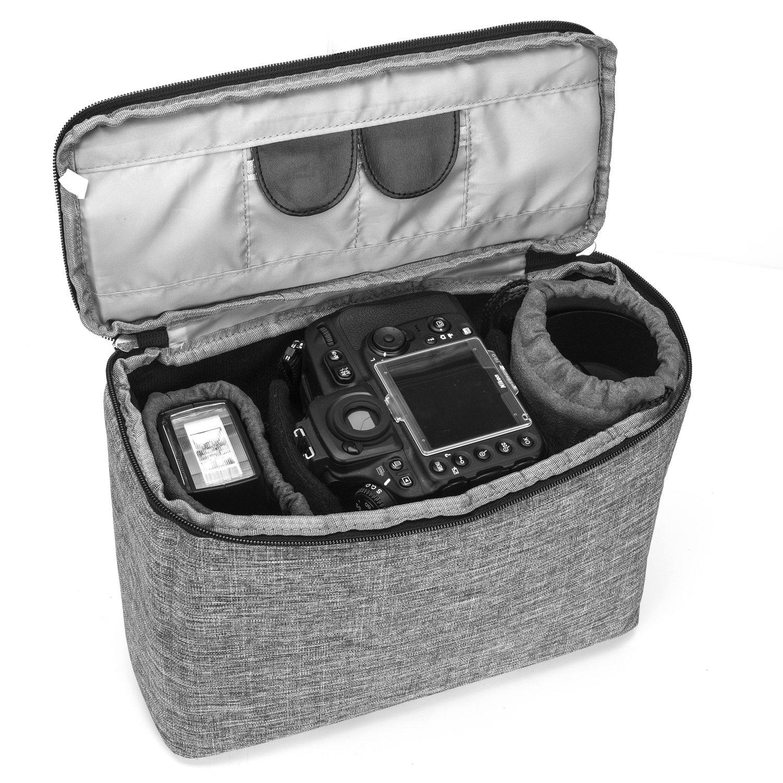 Amzbag Camera Case Sleeve Bag Camera Briefcase Holder Handbag Camera Organizer With Shockproof Soft Padding All SLR/DSLR (Grey)