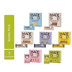 MadeGood Healthy Snacks Variety Pack - 7 Box Mix of Granola Bars, Granola Mini Snack Packs, Crispy Squares; 38 Individual Items