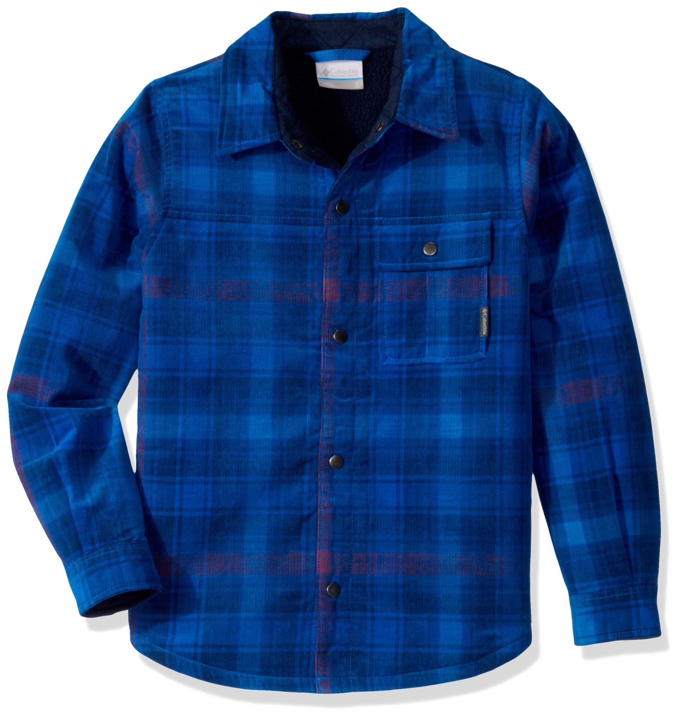 Columbia Boys' Big Windward Sherpa-LinedShirt Jacket, Super Blue Plaid, Large by Columbia